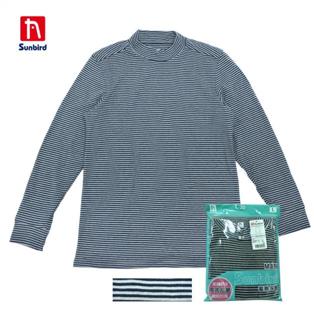 SUNBIRD男半高領條紋衛生衣 1