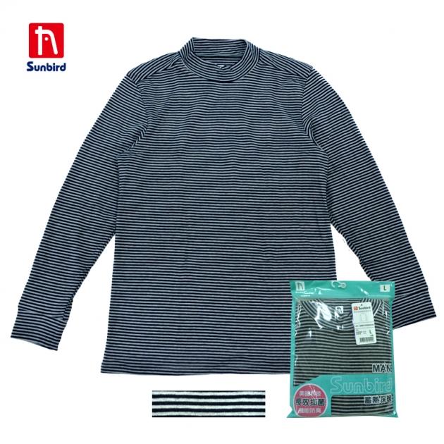 SUNBIRD男半高領條紋衛生衣 2
